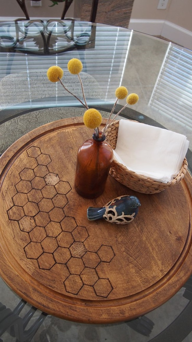 wood burn honeycomb lazy susan