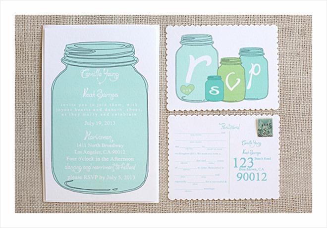 Free DIY Wedding Invitation Printable - mason jars