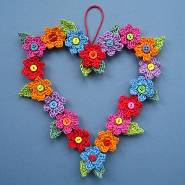 Spring Crochet Patterns - free design - flower wreath