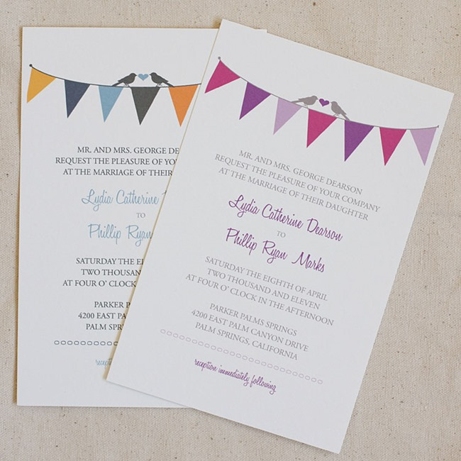 Simply sweet bunting wedding invitation by wedding chicks