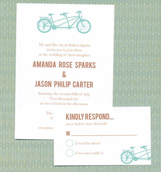 free DIY wedding invitation printable - bike