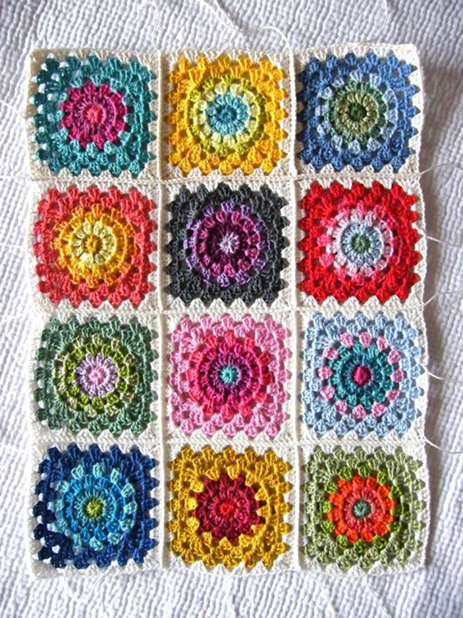 Spring Flower Granny Square Crochet Pattern – Hook and Bake