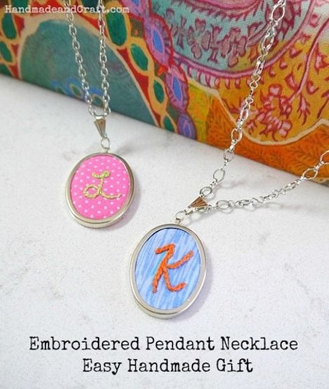 DIY Embroidered Initial Necklace for Mom