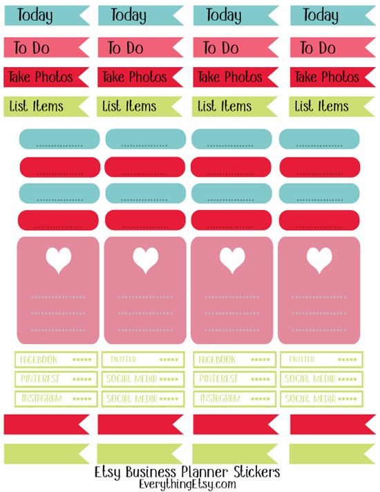 Free Printable Planner Stickers {Etsy Business} on EverythingEtsy.com
