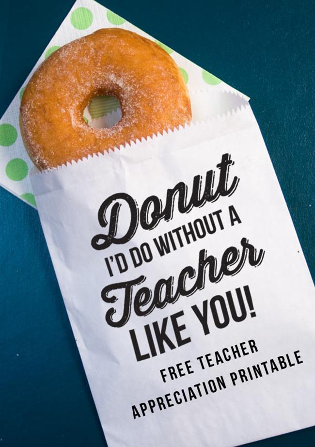 Teacher Appreciation donut holder printable