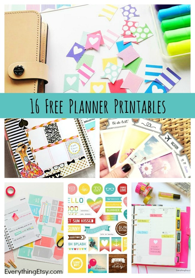 photograph about Etsy Printables known as 16 Free of charge Planner Printables -