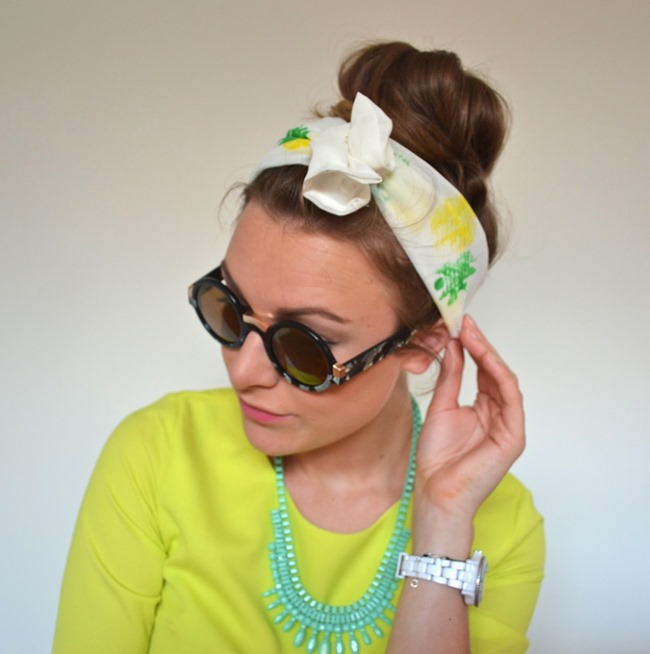 DIY Pineapple Print Headband Tutorial