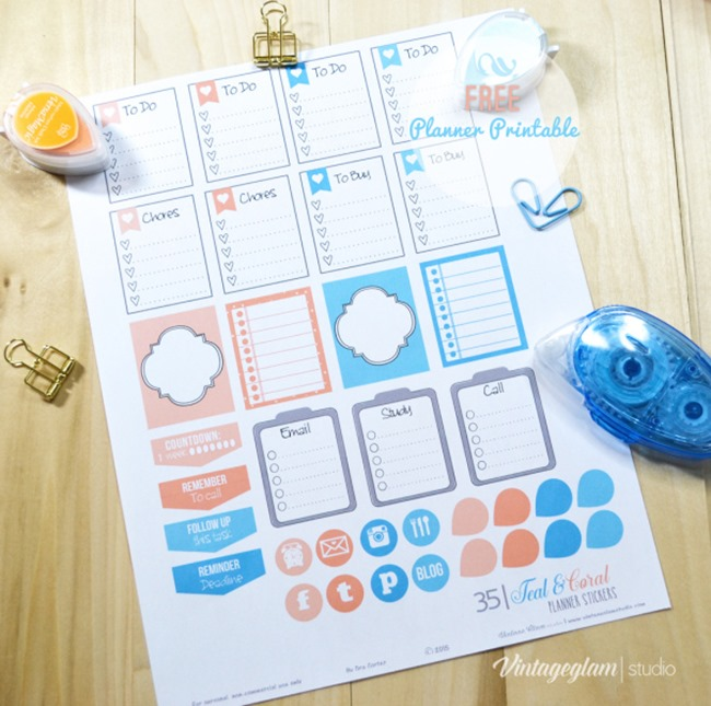 Free Planner Sticker Printables - teal