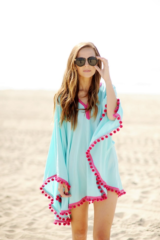 diy beach coverup - pom poms