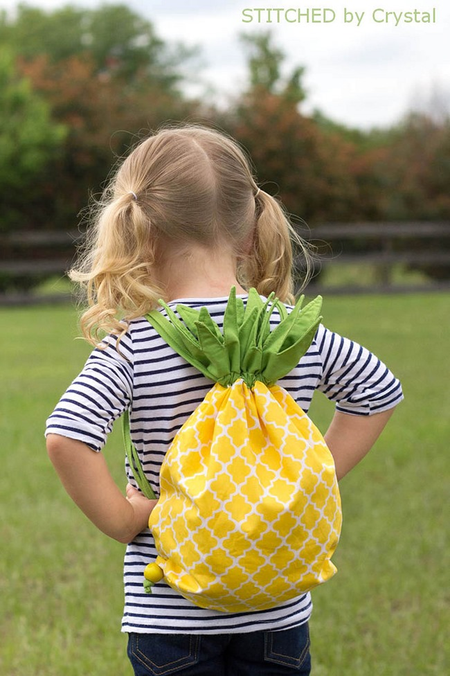 pineapple drawstring backpack sewing tutorial
