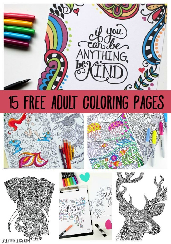 15 free adult coloring pages printables on everythingetsycom - Kids Free Printable Coloring Pages