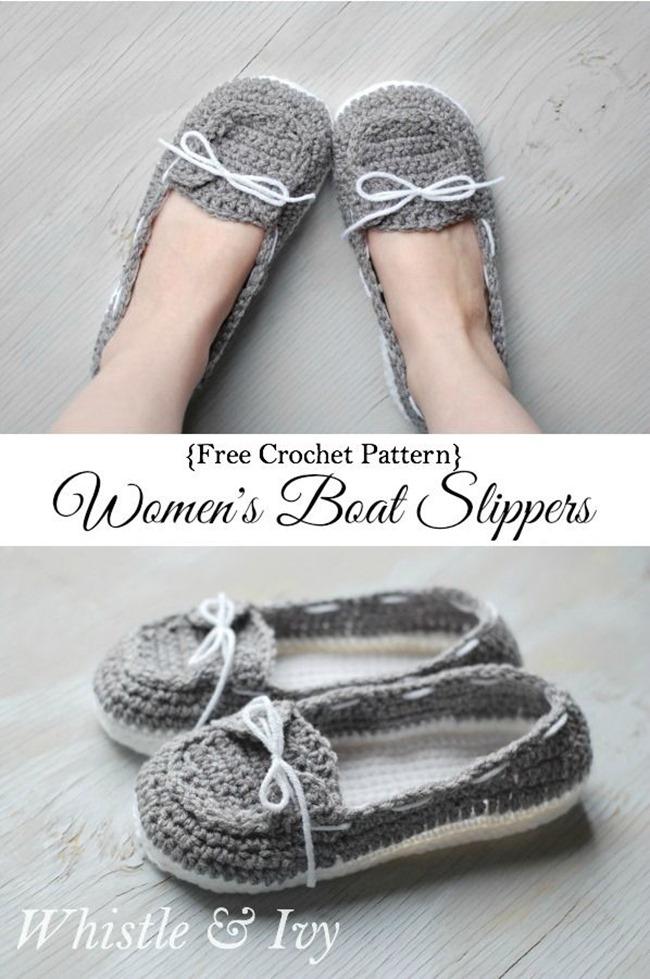 Crochet Boat Slippers - Free Pattern