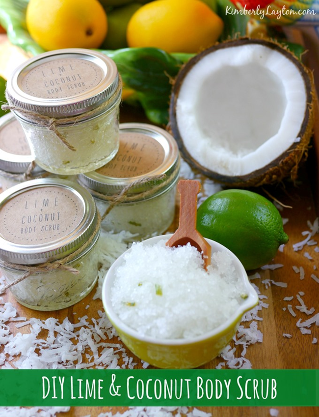 DIY Lime and Coconut Body Scrub on KimberlyLayton
