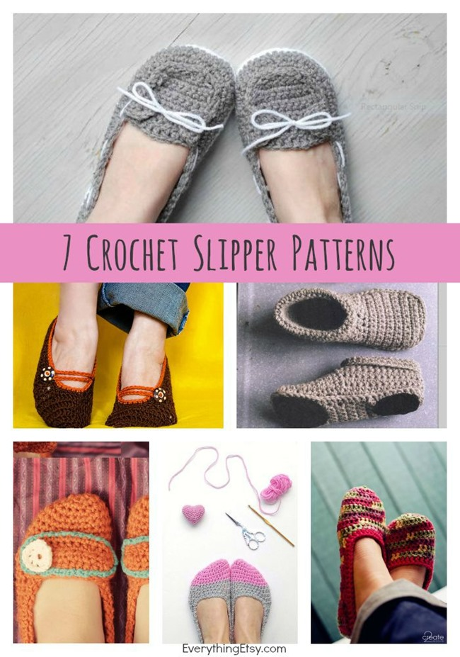 Diy Crochet Slipper Patterns 7 Free Designs Everythingetsy