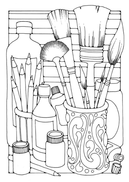 adult coloring pages brushes - Free Easy Coloring Pages