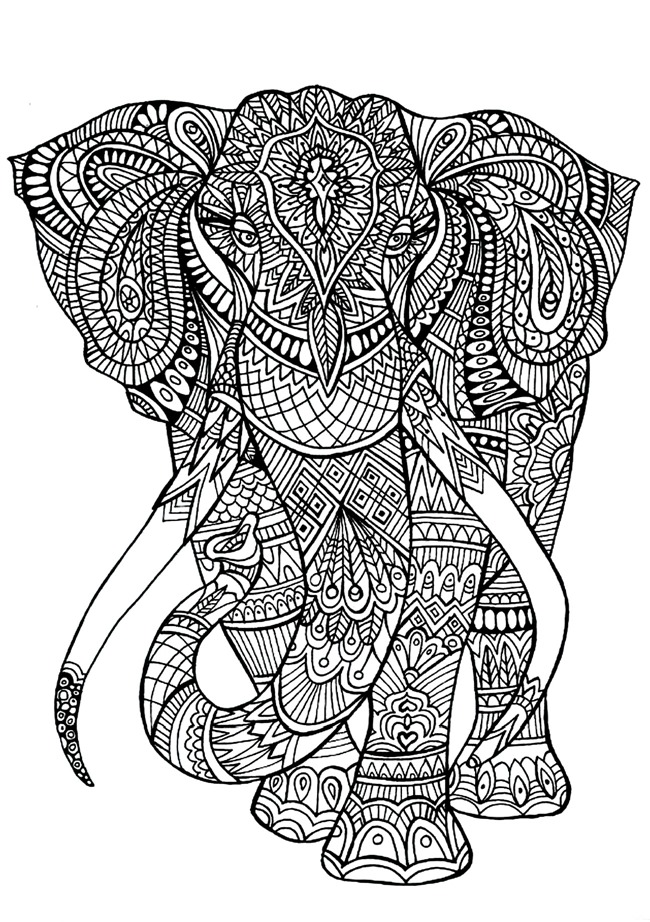 adult coloring pages elephant - Coloring Printouts