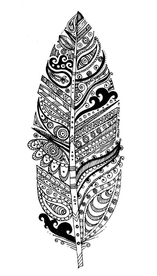 adult coloring pages -feather