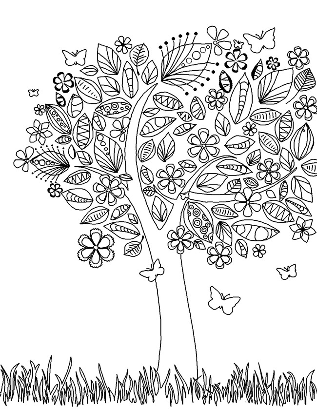 art brushes coloring page printable edupics adult coloring pages tree - Downloadable Coloring Pages