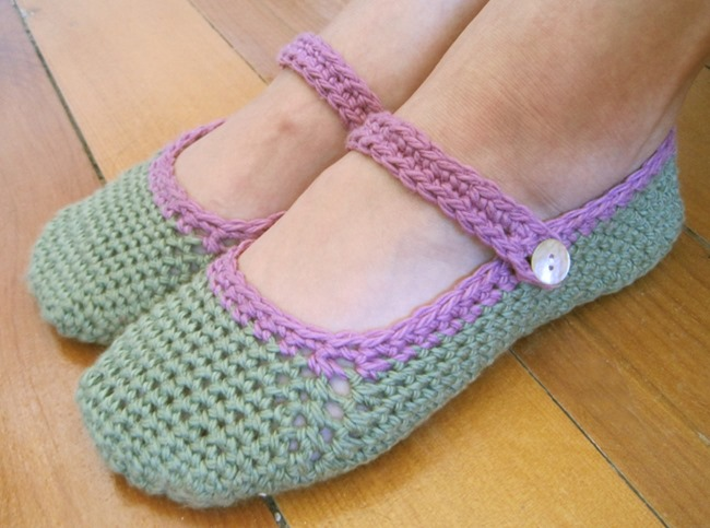crochet mary jane slippers - free pattern