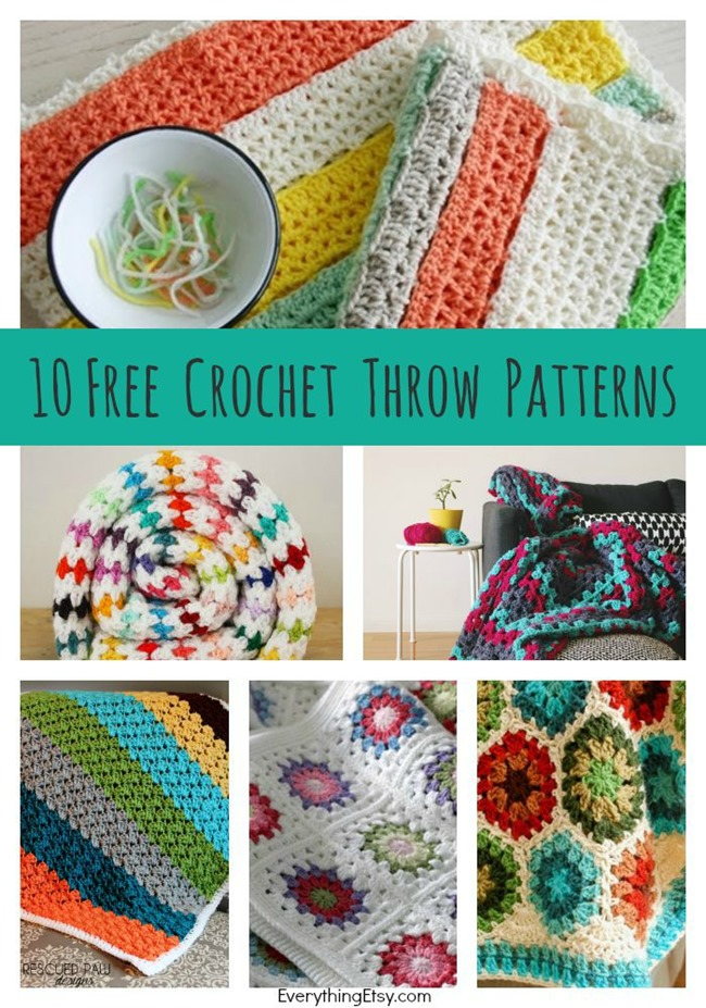 10 Free Crochet Throw Patterns on EverythingEtsy.com - DIY Tutorials that are easy to follow!