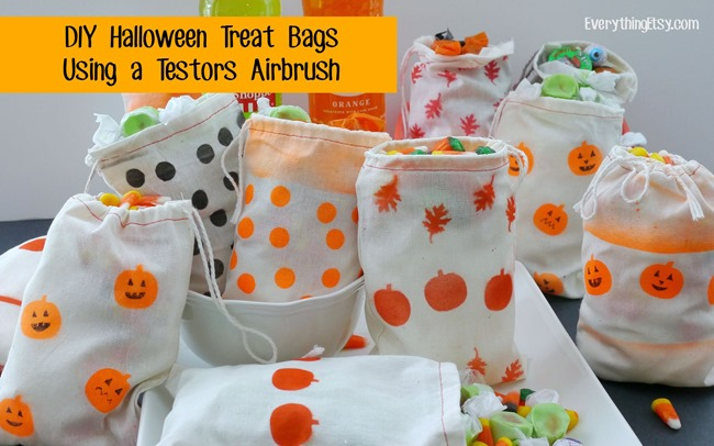 DIY Halloween Treat Bags Using a Testors Airbrush - EverythingEtsy.com