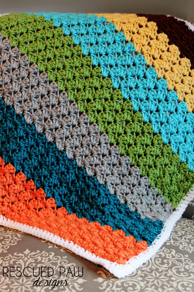 free crochet throw patterns - blanet stitch