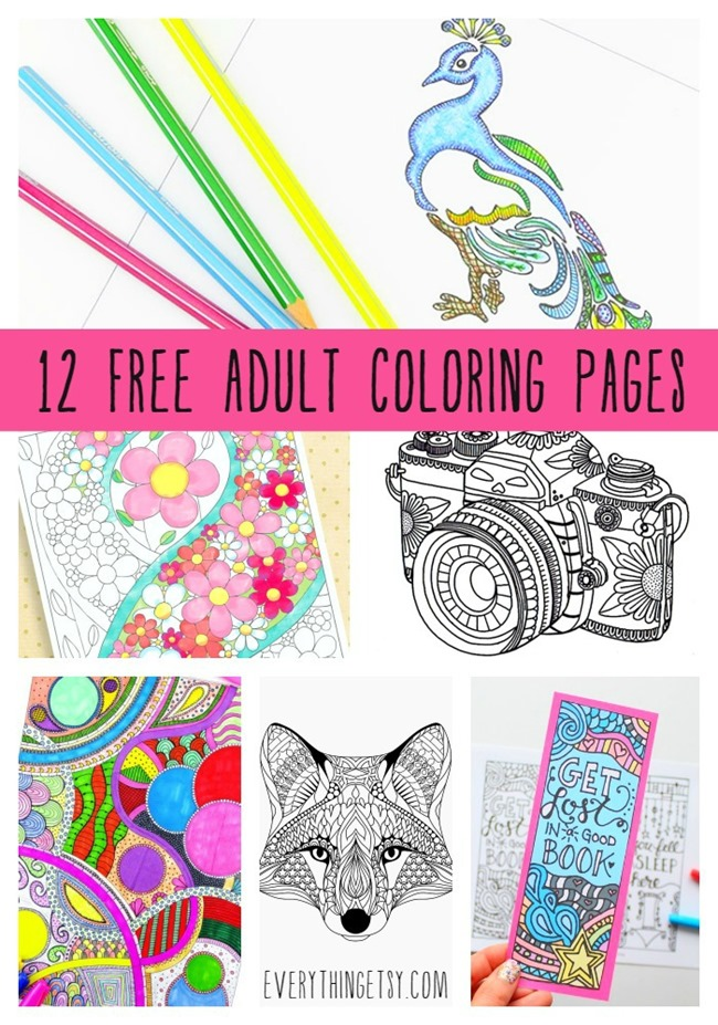 12 Free Adult Coloring Page Printables on EverythingEtsy.com