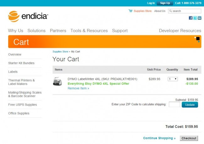 Here's a screenshot of the shopping cart with the code applied... that's a big discount!