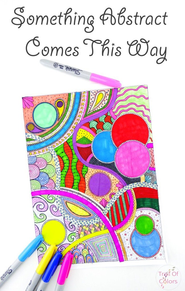 Free Coloring Pages for adults - bright abstract