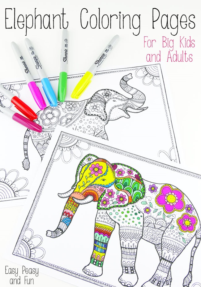 Free Printable Coloring Pages for Adults - Elephant