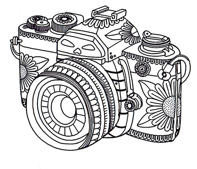 Free adult coloring pages camera