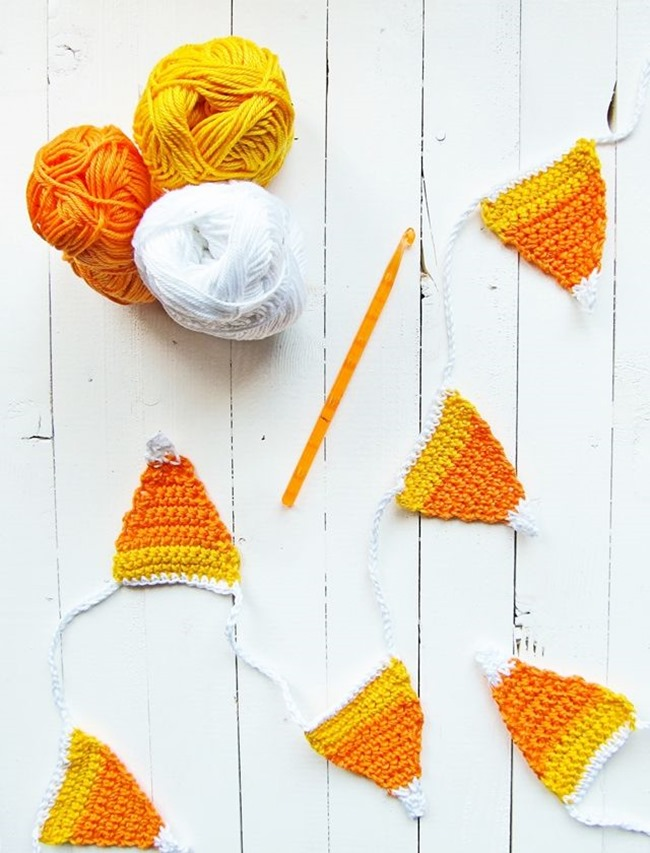 fall crochet patterns - candy corn bunting