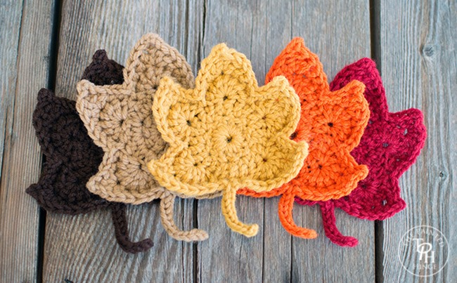fall crochet patterns - diy leaves