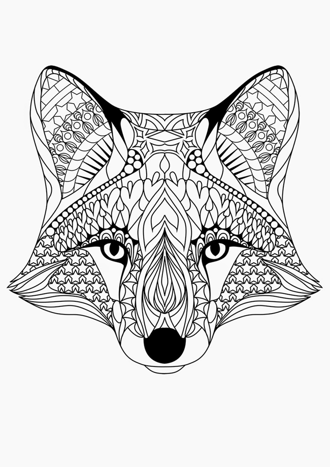 free adult coloring page fox