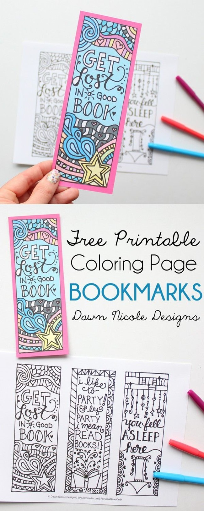 free coloring pages for adults - bookmark
