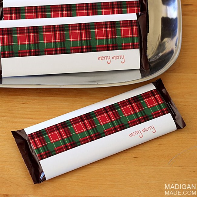 DIY Plaid Gift - Candy Bar