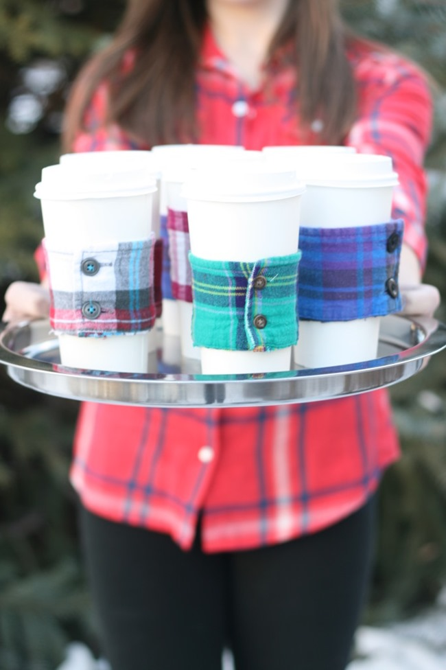 DIY Plaid Gift - Coffee Cozie