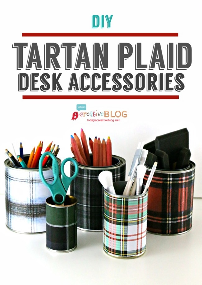 DIY Plaid Gift - Desk Accessories