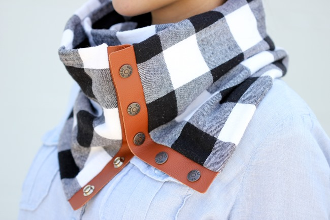 DIY Plaid Gift - Leather and flannel snap scarf tutorial