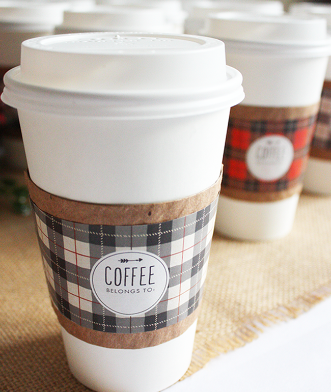 DIY Plaid Gift - coffee sleeve printable