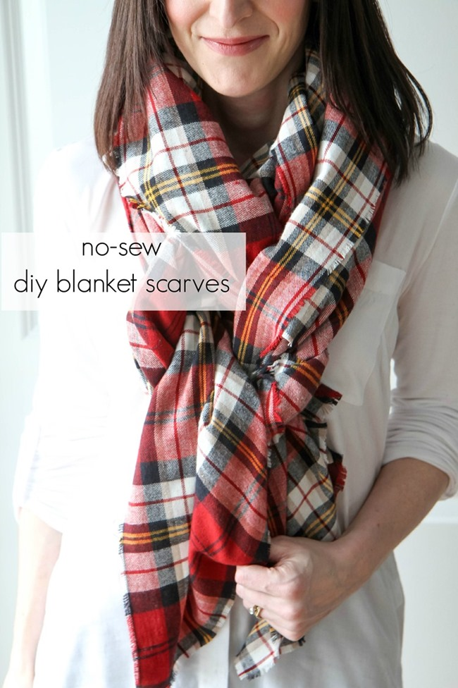 DIY Plaid Gift - no sew blanket scarf tutorial