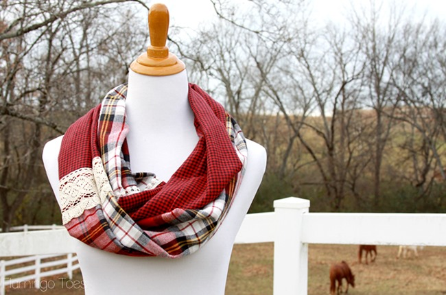 DIY Plaid Gift - plaid and lace scarf