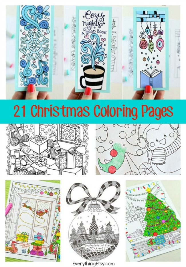 21 christmas printable coloring pages for Selling coloring pages on etsy