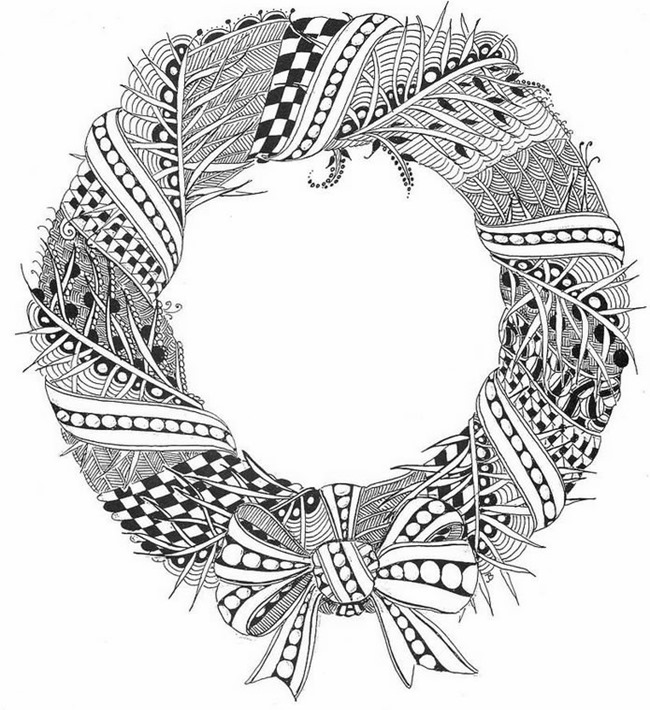 christmas coloring page printable wreath