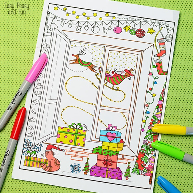 Christmas Coloring Pages for Adults - Night before