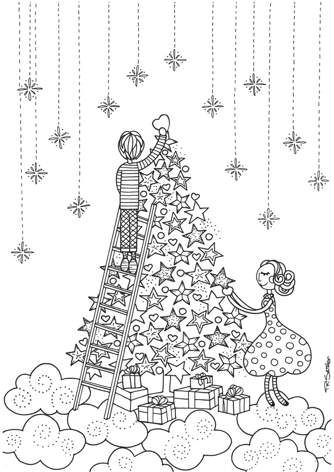 christmas printable coloring page for adults or children