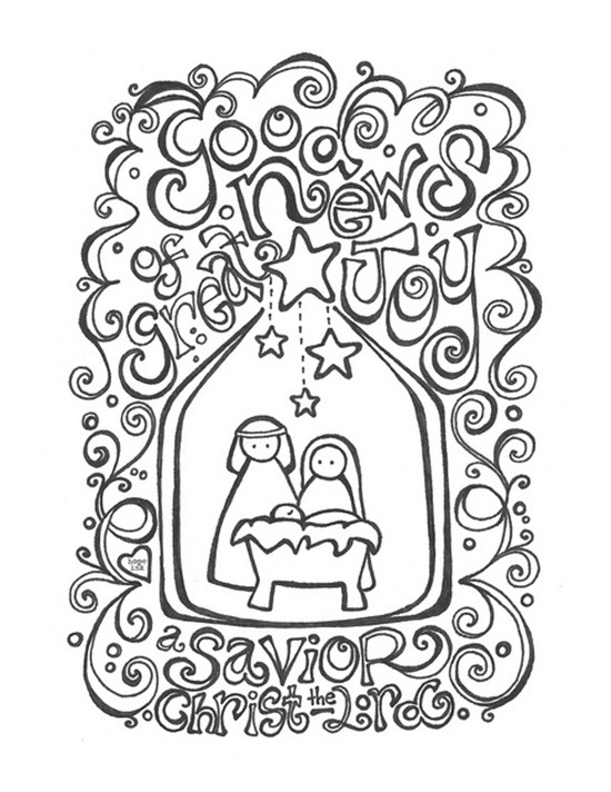 christmas printable coloring page savior - Christmas Coloring Pages For Adults