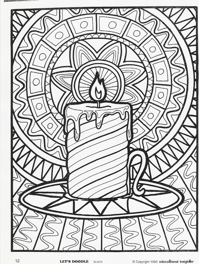 christmas printable coloring page candle - Christmas Coloring Pages For Adults