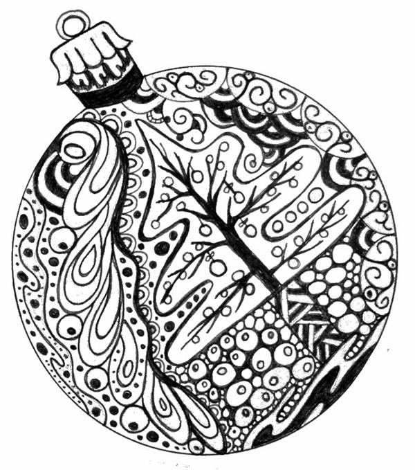 christmas printable coloring page ornament