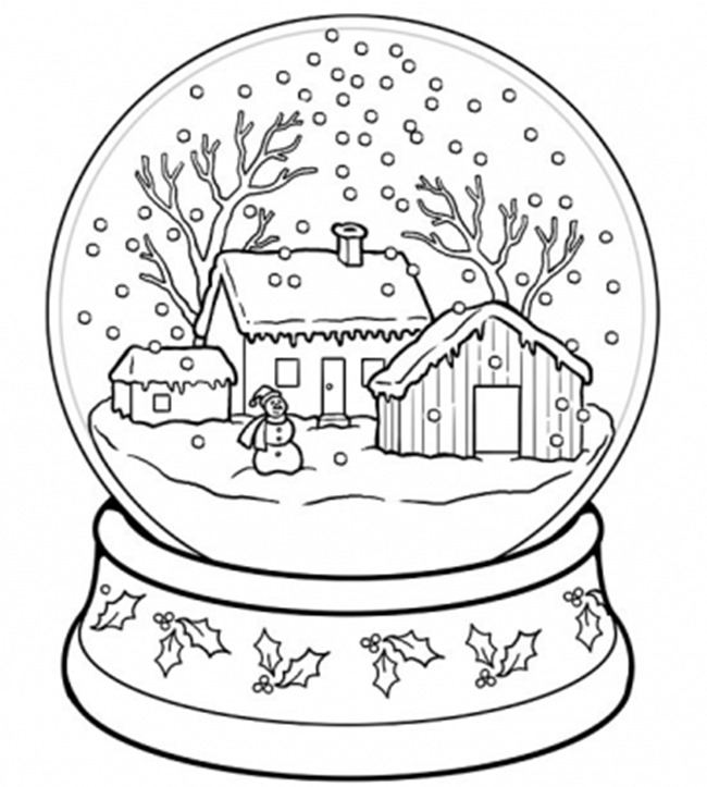 christmas printable coloring page snow globe - Printable Coloring Christmas Pictures